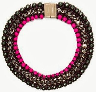 PROENZA SCHOULER ladder lacquered beads necklace in black & hot Pink
