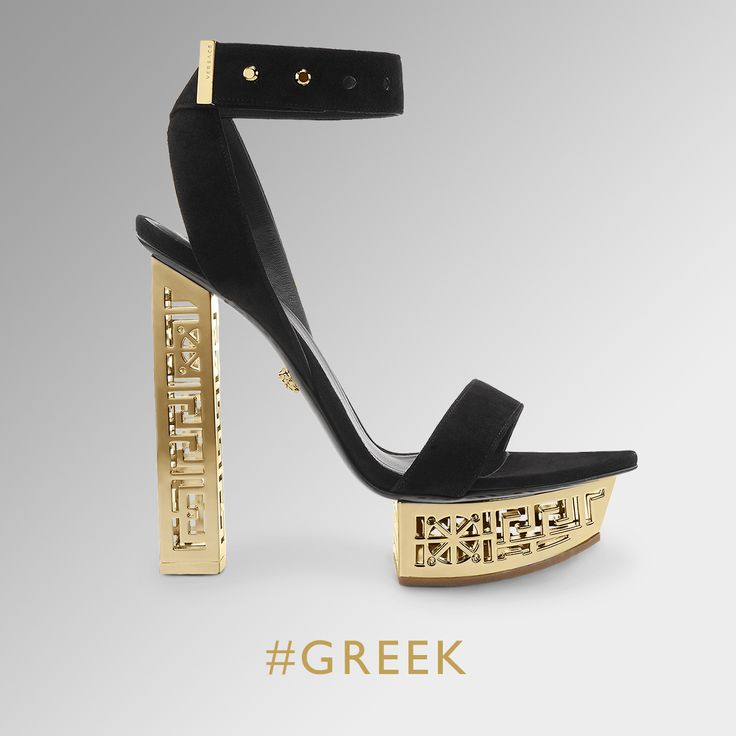 greek sandals versace black