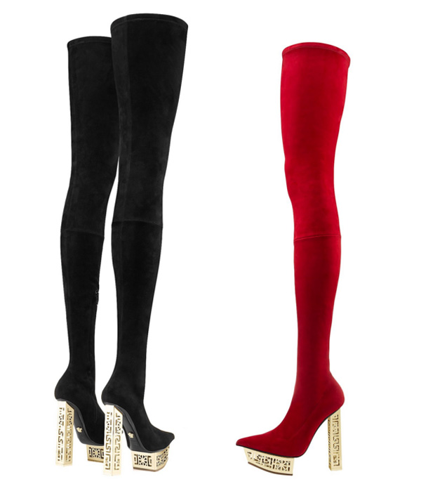 metal heeled greek suede thigh high boots black red versace